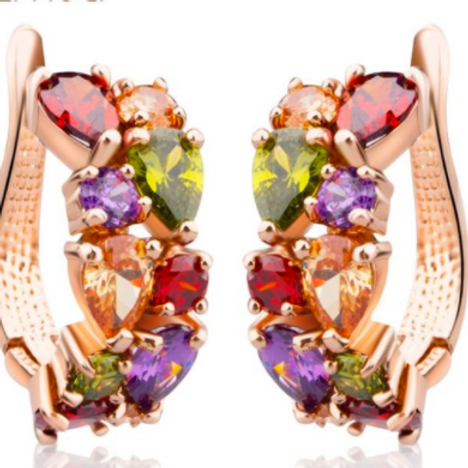 Gold Plated Multi Colored Crystal Earrings