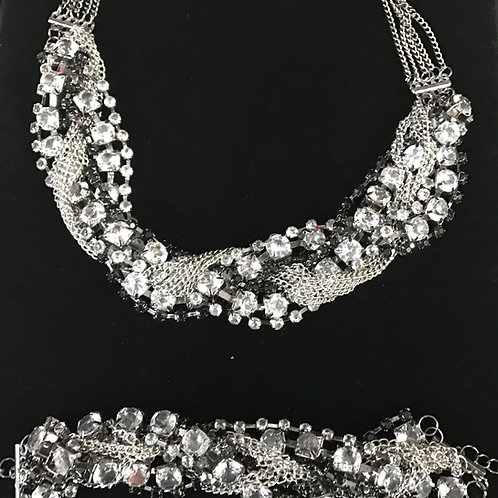2018 2 Piece Jeweled Set (Necklace&Bracelet)