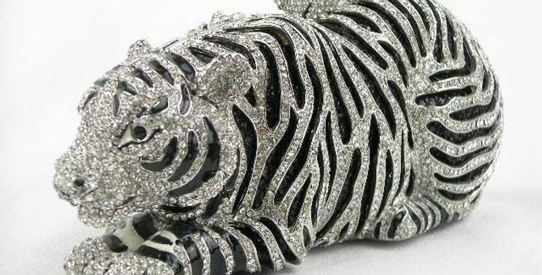 Silver Tiger Crystal Clutch