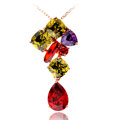 Gold Plated Multi Colored Necklace