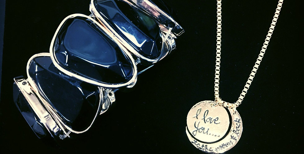 Love You To The Moon Gold Necklace/ Bangle