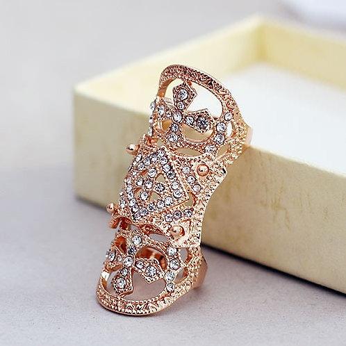 Long Vintage Cross Finger Ring (Gold)