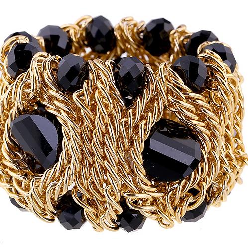 Handmade Crystal Black/Gold Gorgeous Bangle