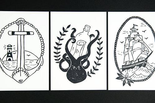 Jenna's set of Old School style Postcards