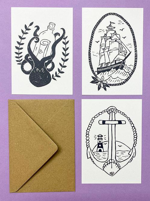 Jenna set of Old School Postcards