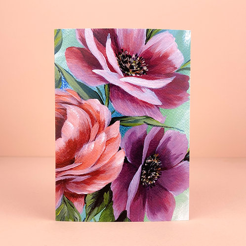 Acrylic floral greeting card