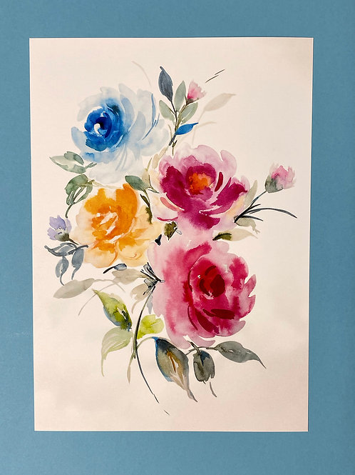 Watercolour Floral A4