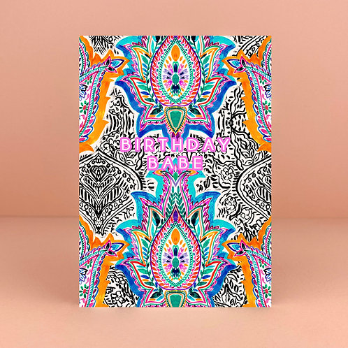 Watercolour Birthday Babe Card