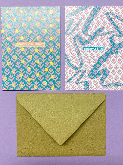 Pair of Lino Birthday Cards