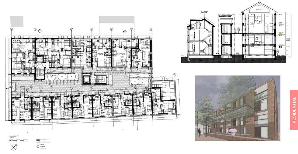 Floor Plan & Section of a residential scheme in Canterbury