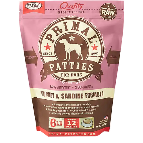 Primal Turkey/Sardine Frozen Patties 6lbs