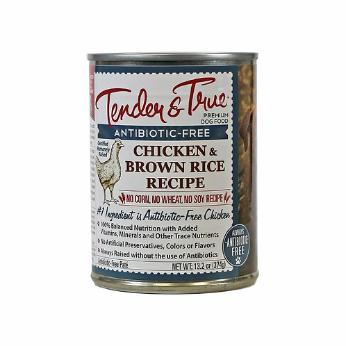 Tender & True Chicken & Brown Rice Recipe Canned Dog Food, 13oz, case of 12