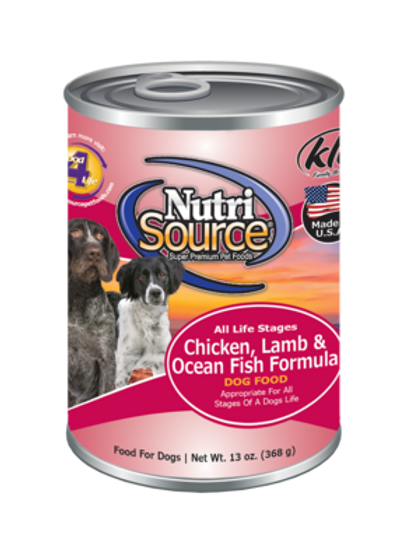 Nutrisource Chicken/Lamb/Ocean Fish Canned Dog Food, 13oz, case of 12