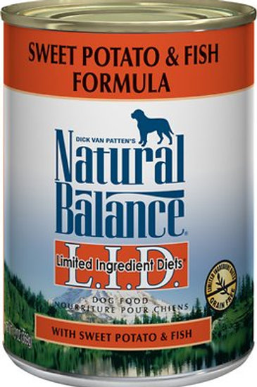 Natural Balance L.I.D. Sweet Potato & Fish Canned Dog Food, 13oz, case of 12