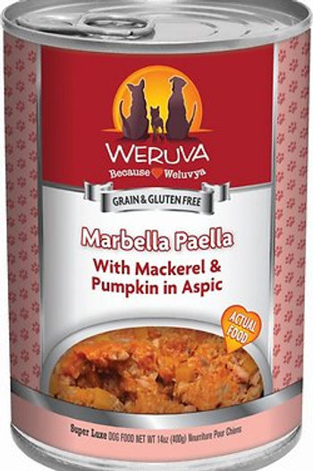 Weruva Marbella Paella  Mackerel & Pumpkin Canned Dog Food, 13oz, case of 12