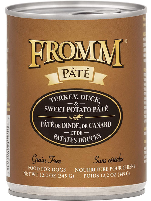 Fromm Turkey, Duck & Sweet Potato Pate Canned Dog Food, 12.2-oz, case of 12