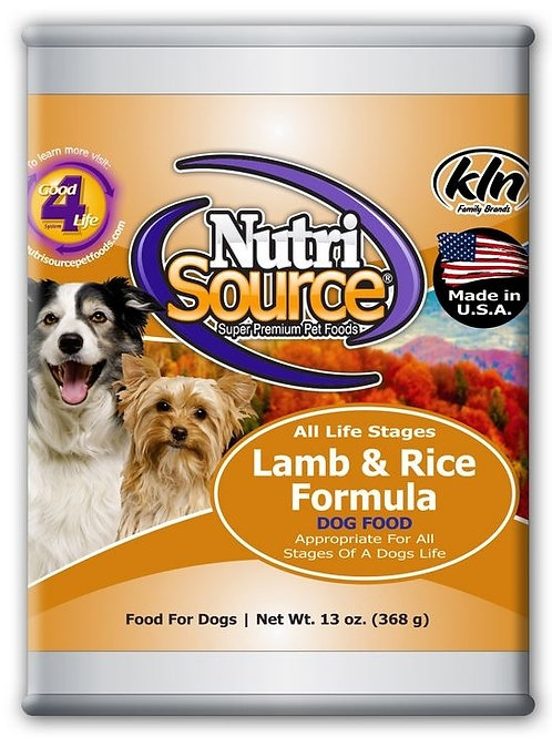 NutriSource Adult Lamb and Rice Canned Dog Food, 13-oz, case of 12