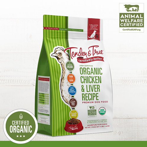 Tender & True Organic Chicken & Liver Grain- Free Dry Dog Food