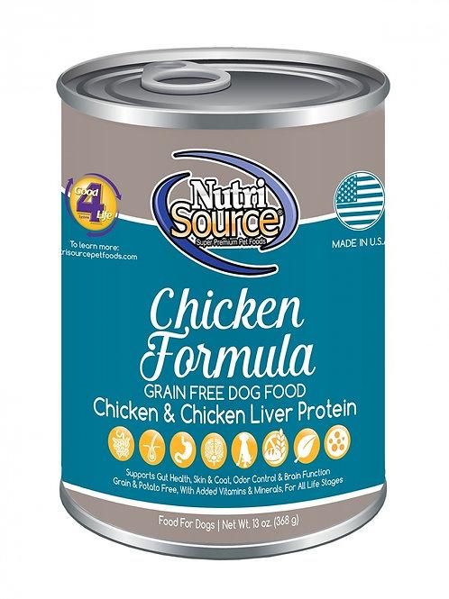 NutriSource Grain Free Chicken Formula Canned Dog Food, 13-oz, case of 12