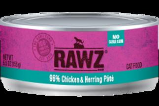 RAWZ Cat 96% Chicken & Herring Pate, 5.5-oz, case of 24
