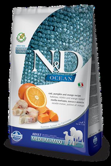 Farmina N&D Ocean Cod, Pumpkin & Orange Adult Medium & Maxi Dry Food For Dogs