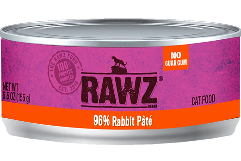 RAWZ Cat 96% Rabbit Pate, 5.5-oz, case of 24