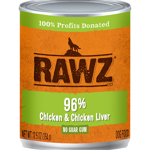 RAWZ Dog 96% Chicken & Chicken Liver, case of 12