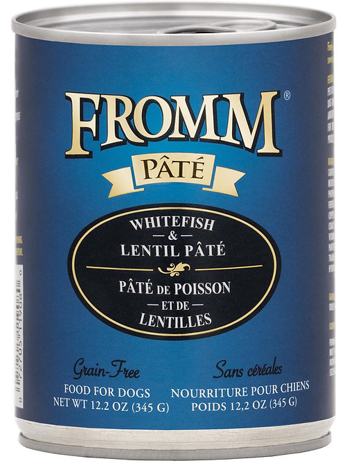 Fromm Whitefish & Lentil Pate Canned Dog Food, 12.2-oz, case of 12