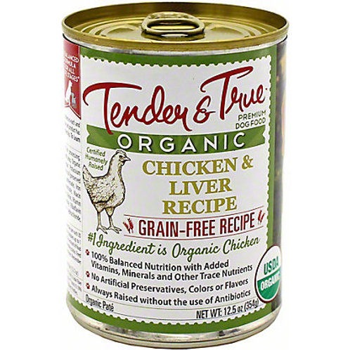 Tender & True Organic Chicken & Liver Recipe Canned Dog Food, 13oz, case of 12