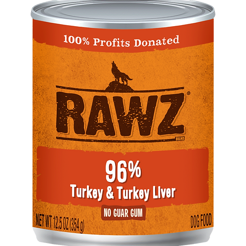 Rawz 96% Turkey & Turkey Liver Pate Dog Can, 12.5-oz, case of 12