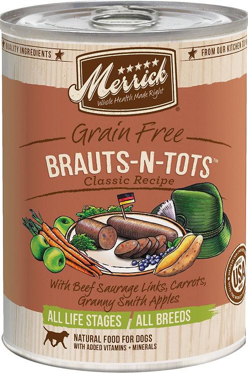 Merrick Brauts-n-Tots Canned Dog Food, 12.7-oz, case of 12