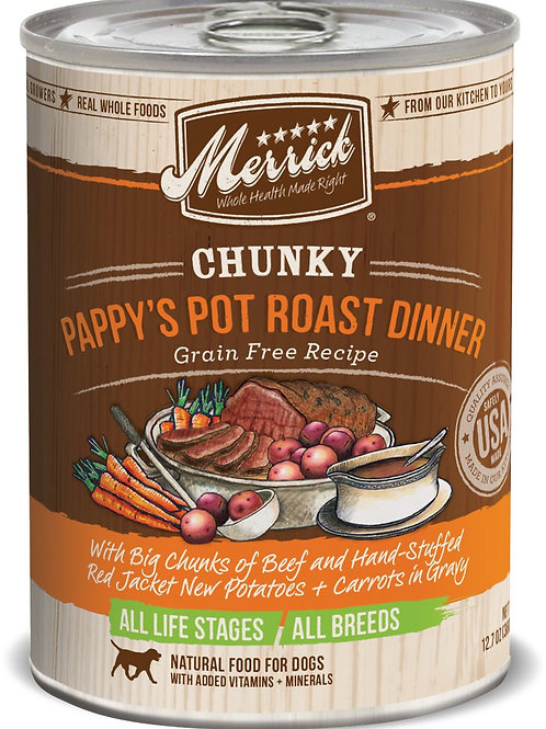 Merrick Chunky Pappy's Pot Roast Dinner Canned Dog Food, 12.7-oz, case of 12