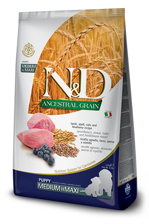Farmina N&D Ancestral Grain Lamb & Blueberry Med/Maxi Puppy Dry Dog Food