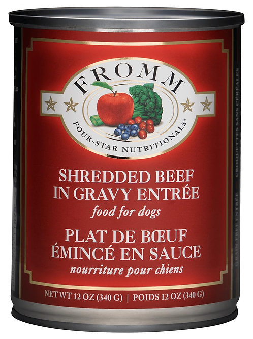 Fromm Four Star Shredded Beef in Gravy Entree Canned Dog Food, 12-oz, case of 12