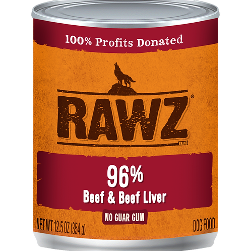 RAWZ Dog 96% Beef & Beef Liver, case of 12