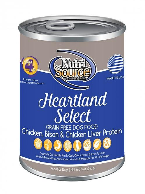 NutriSource Heartland Select Formula Canned Dog Food, 13-oz, case of 12