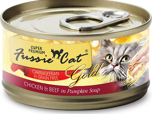 Fussie Cat Chicken & Beef  in Pumpkin Soup Canned Cat Food, 2.8-oz, Case of 24