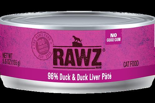 RAWZ Cat 96% Duck & Duck Liver Pate, 5.5-oz, case of 24