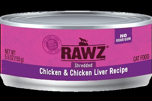 Rawz Chicken & Chicken Liver Shredded Cat Can, 5.5-oz, case of 24