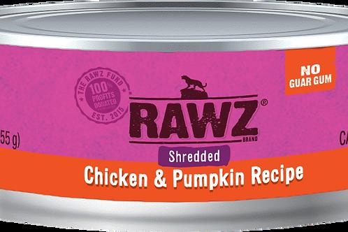 Rawz Chicken & Pumpkin Shredded Cat Can, 5.5-oz, case of 24