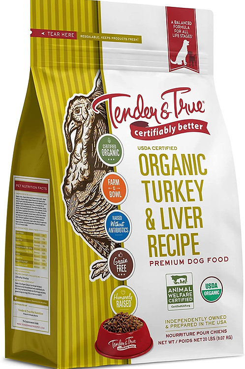 Tender & True Organic Turkey & Liver Grain Free Dry Dog Food
