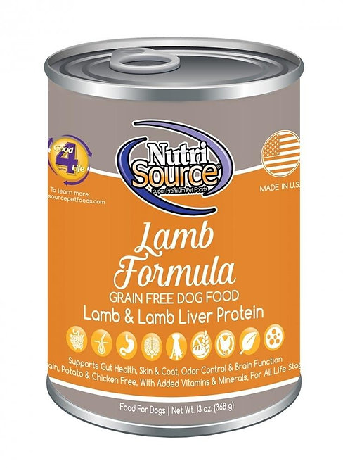NutriSource Grain Free Lamb Formula Canned Dog Food, 13-oz, case of 12