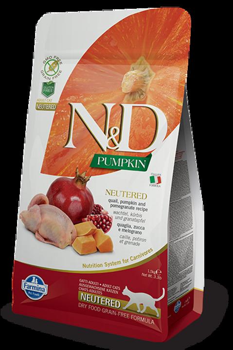Farmina N&D Pumpkin Quail & Pomegranate Neutered Dry Cat Food