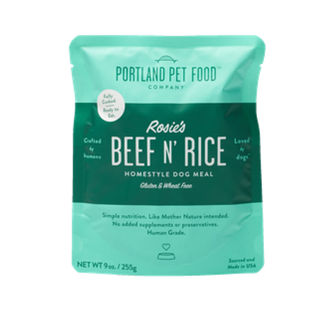 Portland Pet Food Rosie's Beef N Rice Ready to Eat Pouch Dog Meal