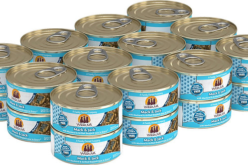 Weruva Mack and Jack Mackerel/Grilled Skipjack Canned Cat Food, 5.5oz case of 24