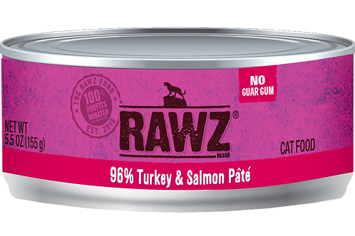 RAWZ Cat 96% Turkey & Salmon Pate, 5.5-oz, case of 24