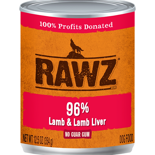 Rawz 96% Lamb & Liver Pate Dog Can, 12.5-oz, case of 12
