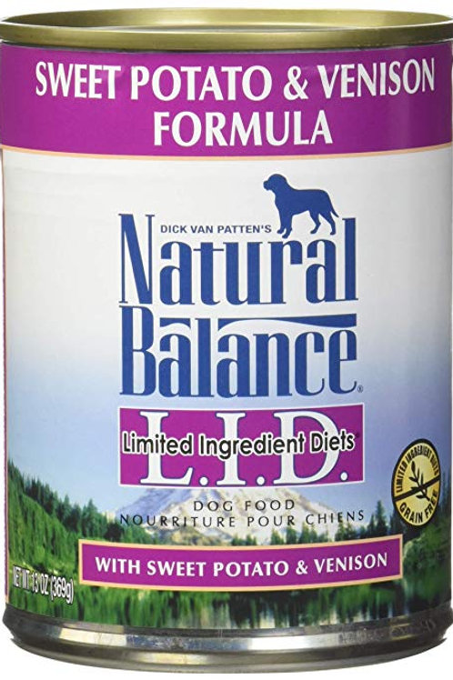 Natural Balance L.I.D. Sweet Potato & Venison Canned Dog Food, 13oz, case of 12