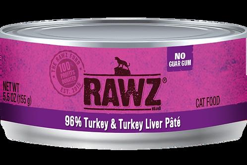 RAWZ Cat 96% Turkey & Turkey Liver, case of 24