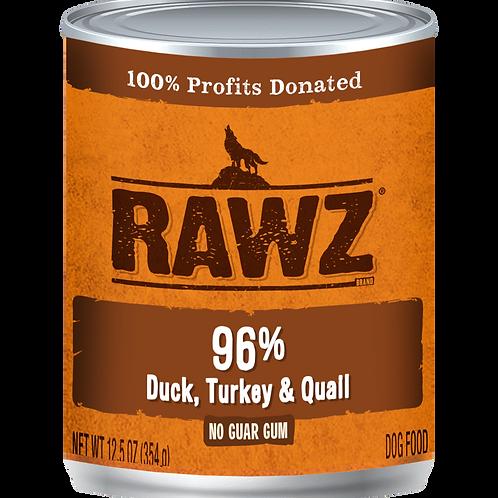 RAWZ Dog 96% Duck, Turkey & Quail, case of 12